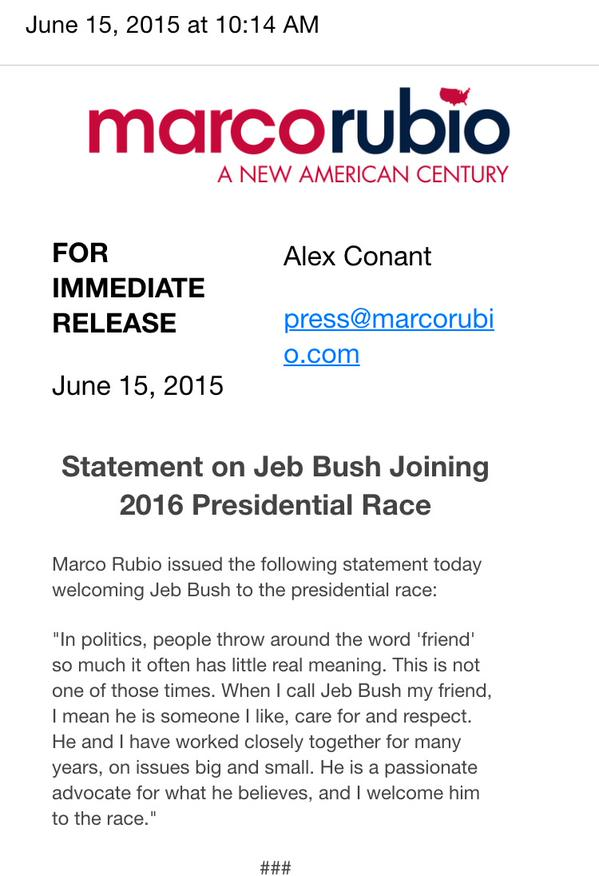 Rubio statement abt jeb